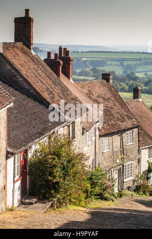The famous Gold Hill in Shaftesbury, Dorset. - Stock Photo
