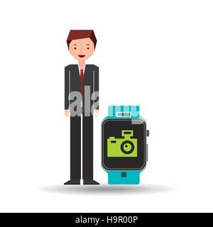 cartoon man smart watch and photographic camera vector ilustration eps 10 - Stock Photo