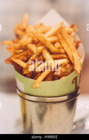 French Fries in Tin Metal Bucket - Stock Photo