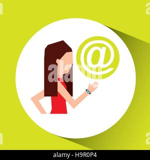 sport girl running with smart watch mail icon vector illustration eps 10 - Stock Photo