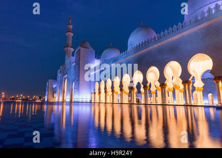 Water in front of Sheikh Zayed Grand Mosque, Abu Dhabi, United Arab Emirates, UAE - Stock Photo