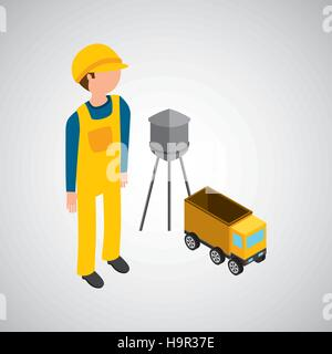 under construction worker with dump truck vector illustration eps 10 - Stock Photo