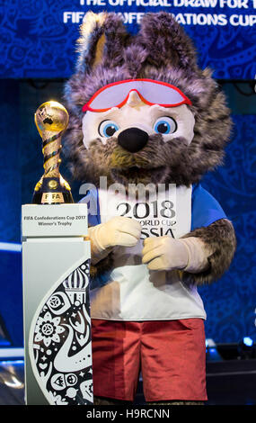 Kazan, Russia. 25th Nov, 2016. Wolf 'Sabiwaka', the mascot of the FIFA Soccer World Cup 2018 in Russia, stands next - Stock Photo