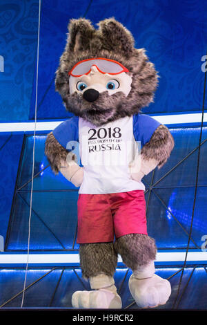 Kazan, Russia. 25th Nov, 2016. Wolf 'Sabiwaka', the mascot of the FIFA Soccer World Cup 2018 in Russia, stands on - Stock Photo