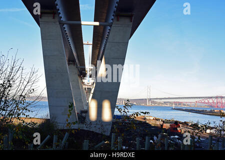 South Queensferry, Scotland, UK. 25th November, 2016. The underside of Queensferry Crossing at its southern landfall, - Stock Photo