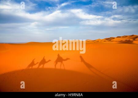 Shadow of a caravan on a stunning sand dunes of Sahara desert in Merzouga, Morocco - Stock Photo