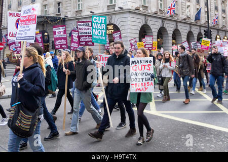 LONDON, UK - NOVEMBER 19, 2016: Students and lecturers march and protests against education bill  on the streets - Stock Photo