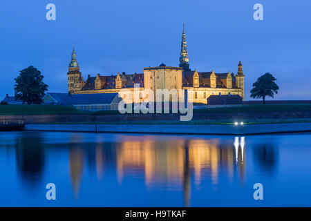 Kronborg Castle and fortress at night in Elsinore, Denmark - Stock Photo