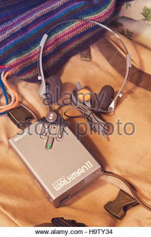 Sony Walkman II cassette player with headphones - Stock Photo
