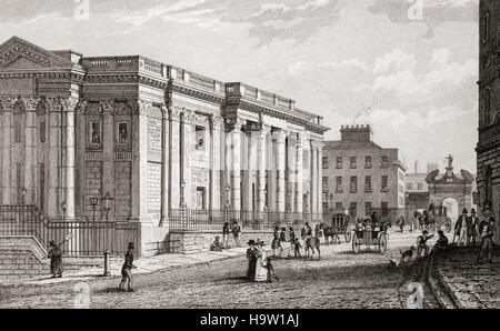 19th Century view of the Royal Exchange, built between 1769 and 1779 to the designs of architect Thomas Cooley. - Stock Photo