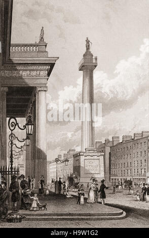 19th Century view of Nelson's Pillar (aka the Nelson Pillar or simply the Pillar) was a large granite column capped - Stock Photo