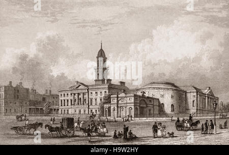 19th Century view of 'The Lying-In Hospital', founded in 1745 by Bartholomew Mosse, surgeon and man-midwife. The - Stock Photo