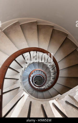 Spiral Staircase to the basement at Attingham Park, Shropshire. - Stock Photo