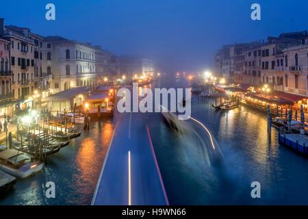 View from Rialto bridge to Canal Garnde at dusk, fog, gondola,  Venedig, Venezia, Venice, Italia, Europe, - Stock Photo
