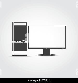 Black icon. Desktop computer case with buttons and monitor. - Stock Photo
