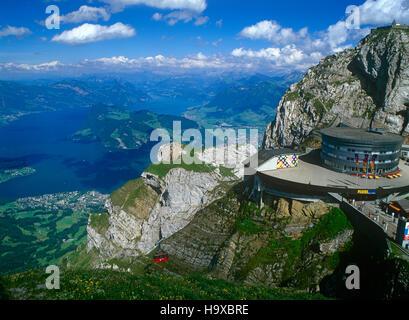 Mount Pilatus and Lake Lucerne, Bernese Oberland, Switzerland - Stock Photo