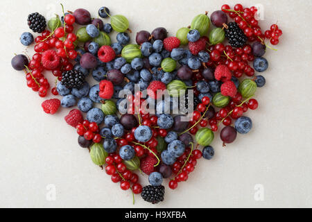 Fresh berries healthy lifestyle concept, love fruits - Stock Photo