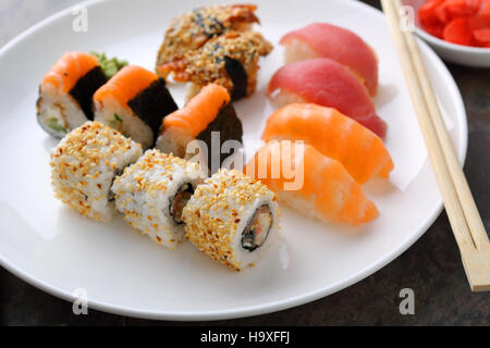 Traditional japanese sushi, food closeup - Stock Photo