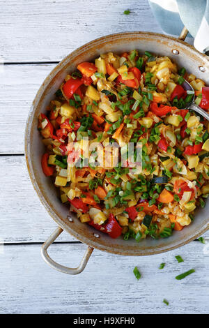 stewed vegetables in a frying pan - Stock Photo