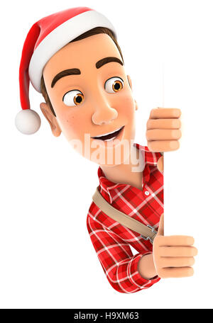 3d handyman with christmas hat peeping over wall, illustration with isolated white background - Stock Photo