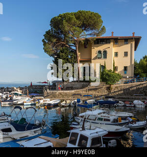 A small harbor in the coastal town of Icici on the Istria Peninsula on northwest Croatia. - Stock Photo