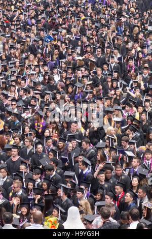 American college graduate students on Graduation Day ceremonies at University of Washington Seattle North America - Stock Photo