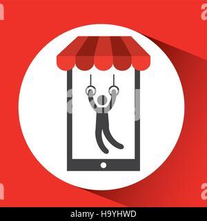 mobile phone silhouette sportman still rings vector illustration eps 10 - Stock Photo
