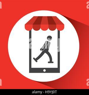 mobile phone silhouette sportman ice skate vector illustration eps 10 - Stock Photo