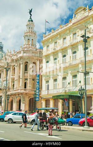HAVANA, CUBA - AUG 9, 2016. View of the historic Hotel Inglaterra founded in 1875 near Central Park in Havana, Cuba - Stock Photo
