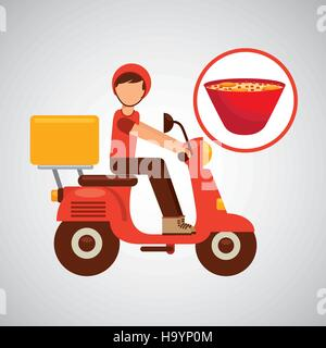 delivery boy ride motorcycle ramen vector illustration eps 10 - Stock Photo