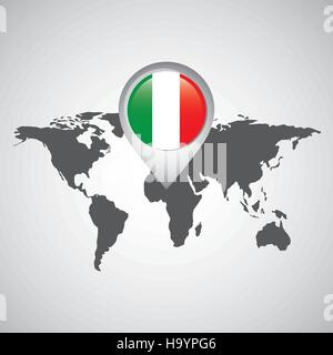 world map with pointer flag italy vector illustration eps 10 - Stock Photo