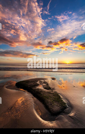 Stunning sunrise on Scarborough beach. - Stock Photo