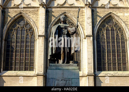 Cardinal Mercier statue at Cathedral of St. Michael and St. Gudula, Brussels, Belgium - Stock Photo