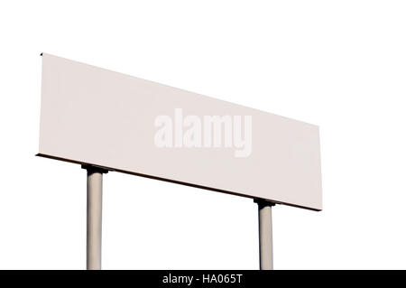 White Empty Road Name Sign, Isolated, Large Detailed Roadside Signage, Blank Copy Space Background - Stock Photo