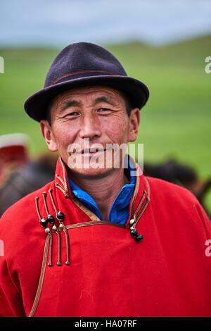 Mongolia, Arkhangai province, Mongolian nomad man - Stock Photo