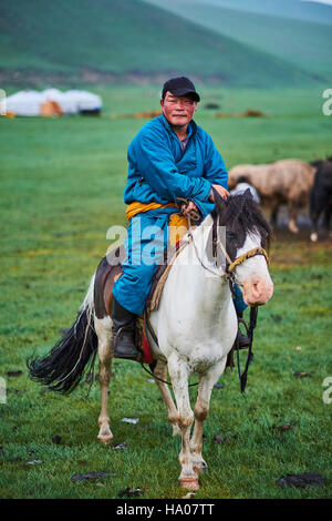 Mongolia, Ovorkhangai province, Orkhon valley, Nomad camp, Mongolian horserider - Stock Photo