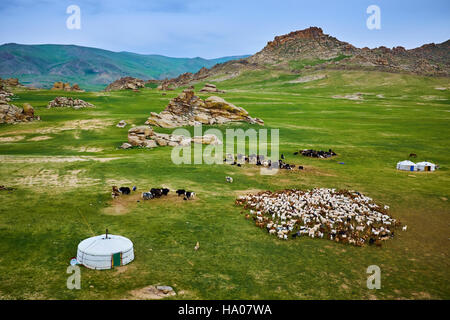 Mongolia, Bayankhongor province, nomad camp - Stock Photo