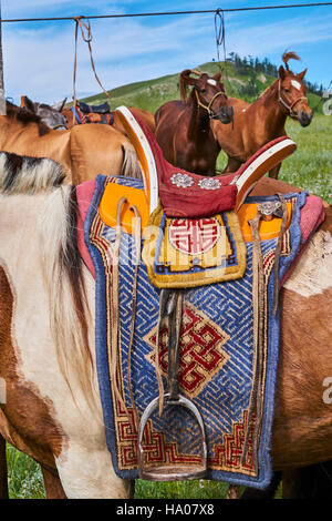 Mongolia, Bayankhongor province, a saddle decorated - Stock Photo