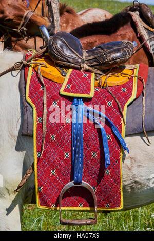 Mongolia, Bayankhongor province, a saddle decorated - Stock Photo