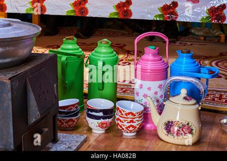 Mongolia, Uvs province, western Mongolia, tea in the yurt - Stock Photo