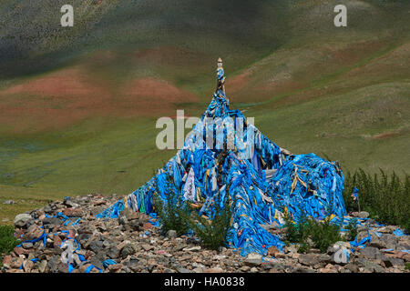 Mongolia, Uvs province, western Mongolia, nomad camp in the steppe - Stock Photo