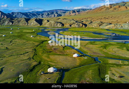 Mongolia, Bayan-Ulgii province, western Mongolia, the delta of the Sagsay river in the Altay mountains - Stock Photo
