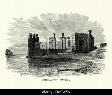 Caernarfon Castle (Carnarvon), a medieval fortress in Caernarfon, Gwynedd, north-west Wales. - Stock Photo