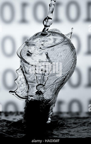 water splash on electric bulb - Stock Photo