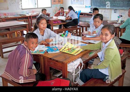 School classroom in Luang Prabang, Laos. - Stock Photo