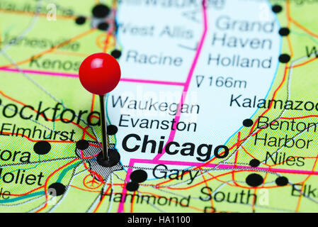 Chicago Pinned On A Map Of Illinois Usa Stock Photo