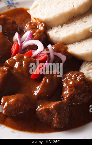Czech cuisine: beef goulash with Knodel macro on a plate. vertical - Stock Photo