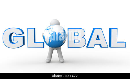 3d man with word global - Stock Photo