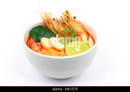 Tom Yum Soup or River Prawn Spicy Sour Soup (Tom Yum Goong) isolated on white background, Thai local food - Stock Photo