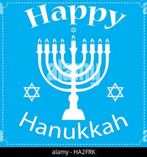 Hanukkah Typographic Vector Design - Happy Hanukkah. Jewish holiday. Hanukkah Menorah on Light Blue Background - Stock Photo